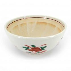 Japanese ceramic suribachi bowl, white, orange and green patterns, SHIZEN