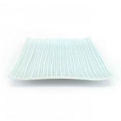 Piatto quadrato in ceramica giapponese, bianco e azzurro, MATTO KOKA