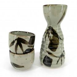 Japanese ceramic sake service, 2 glasses and 1 bottle, TAKE