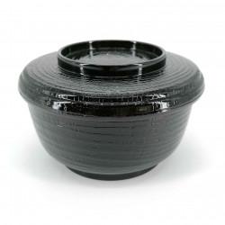 Soup bowl with lid, black, wood relief, KI NO KOKA