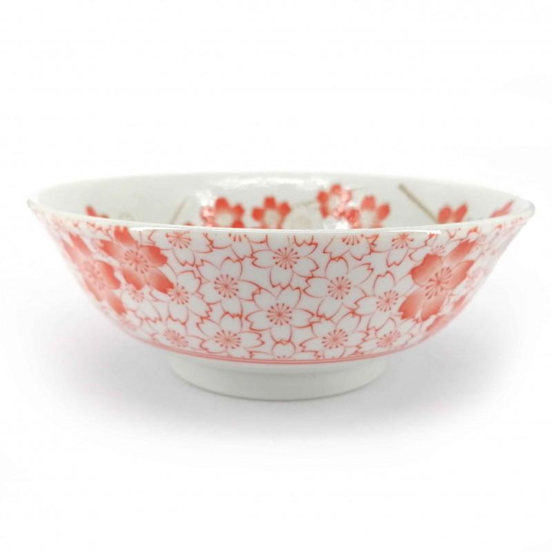 Japanese ceramic ramen bowl, white and pink, SAKURA