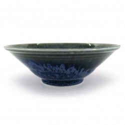 Japanese ceramic ramen bowl, green and blue sparkle, KAGAYAKU