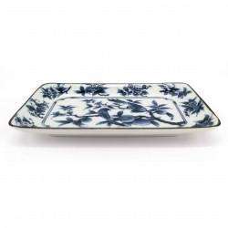 Plato rectangular japonés, blanco con dibujos de pájaros azules, TORI