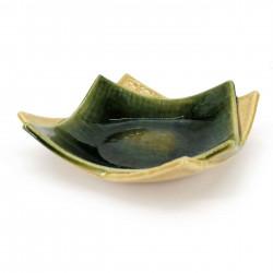 Piatto quadrato giapponese piccolo in ceramica, smalto beige e verde con riflessi, ORIBEGURIN
