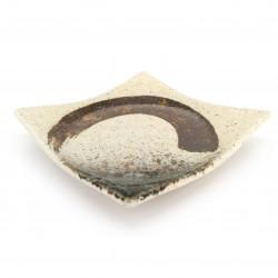 Piatto piccolo quadrato in ceramica giapponese, pennellata beige, marrone - MIGAKIMASU