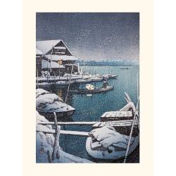 Japanese print, Snow in Mukojima, Kawase Hasui