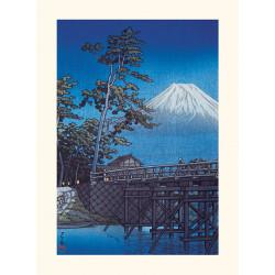 Japanese print, Mount Fuji in the moonlight, Kawai bridge, Kawase Hasui