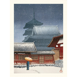 Japanese print, The Tennoji Temple in Osaka, Kawase Hasui