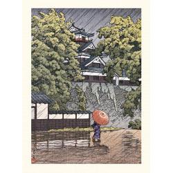 Impresión japonesa, torreta Udo en el castillo de Kumamoto, Kawase Hasui