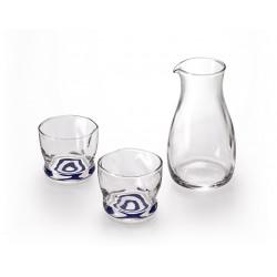 Japanischer Glassake-Service, 1 Flasche und 2 Gläser, MOKUHYO