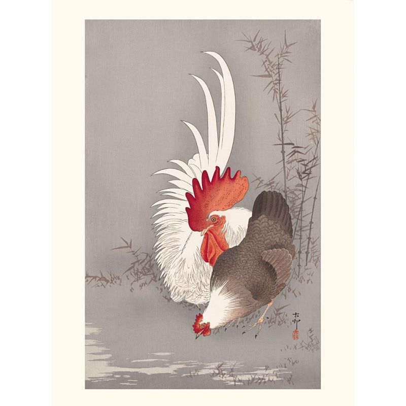 Japanese print, Domestic rooster and hen, Ohara Koson