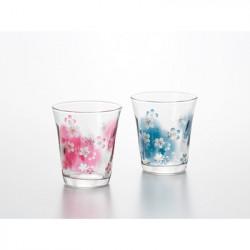 Pink and blue Japanese two glasses set with sakura patterns HANAKOTOBA