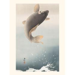 Japanese print, Jumping carp, Ohara Koson