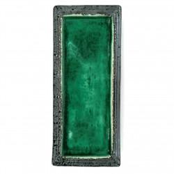 Japanese rectangular plate, green crackled enamel, WARETA