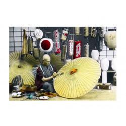 Ancient photography, Ancient Japan, Meiji era, Umbrella maker