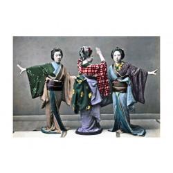 Ancient photography, Ancient Japan, Meiji era, Three dancers in kimono
