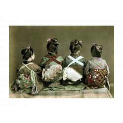 Ancient photography, Ancient Japan, Meiji era, Seated kimono dancers