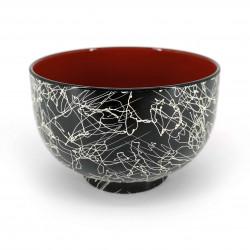 Lacquered soup bowl, black with random lines, RAKUGAKI