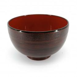 Suppenschüssel, Holzeffekt, rotes Interieur, KI NO KOKA