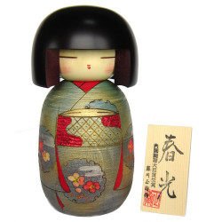 Poupée japonaise KOKESHI en bois. fabriquée à la main au Japon - SHUNKO