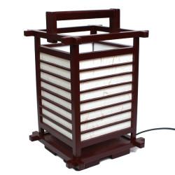 Lampe japonaise rouge bois et papier 2034