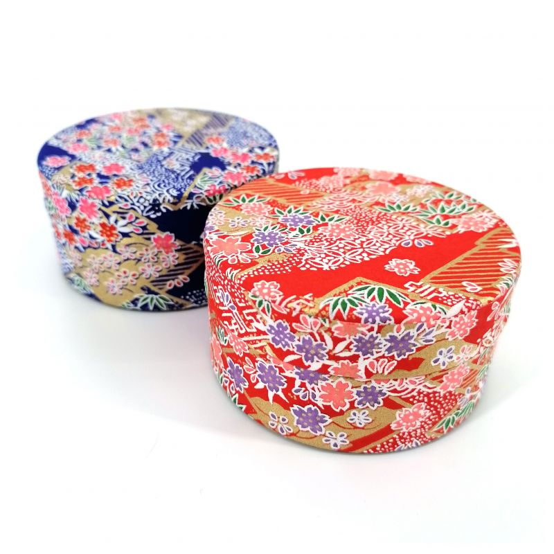 Japanese tea box made of washi paper, LOSANGES, red