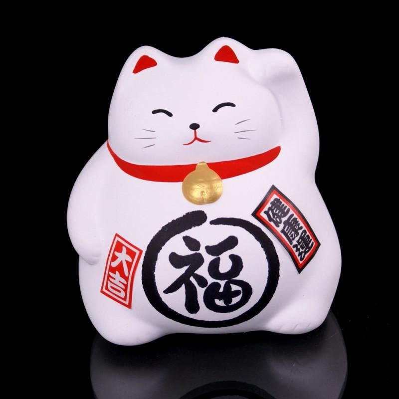 chat blanc porte-bonheur Manekineko japonais MIYAKO
