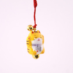 Japanese cat decorative hook for phone, MANEKINEKO, yellow