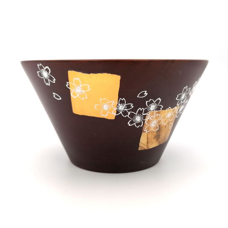 Japanese rice bowl in dark cedar wood with gold and silver lacquered cherry blossom pattern, MAKIE SAKURA