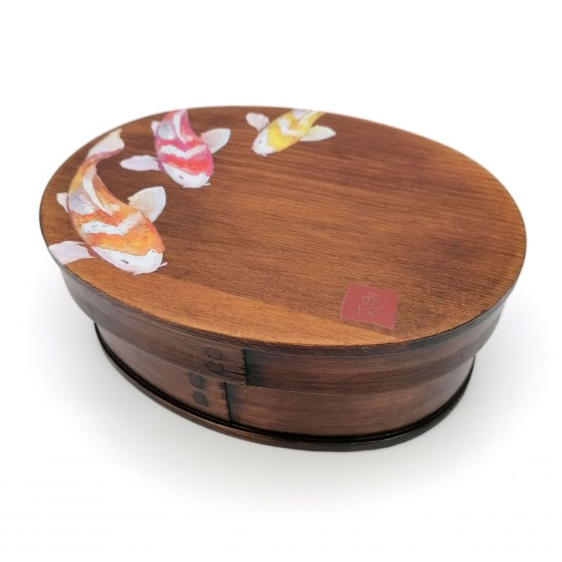 Japanese oval bento lunch box in cedar wood with fish pattern, NISHIKI