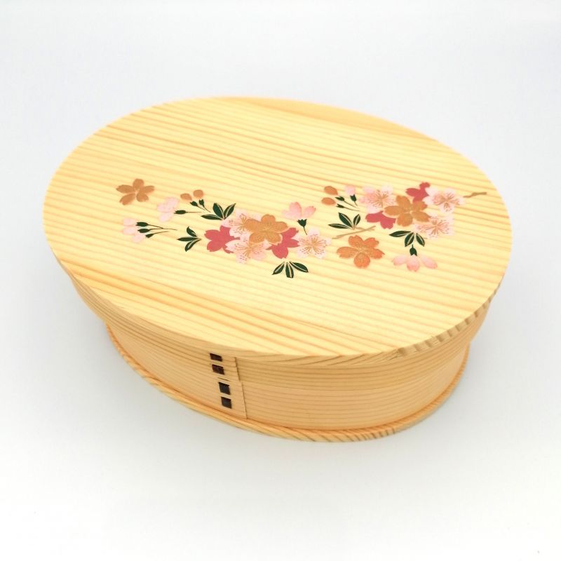 Japanese oval bento lunch box in cedar wood with lacquered cherry blossom pattern, MAKIE SAKURA