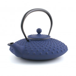 théière bleue japonaise en fonte. Iwachu. Kambin 0.9 lt