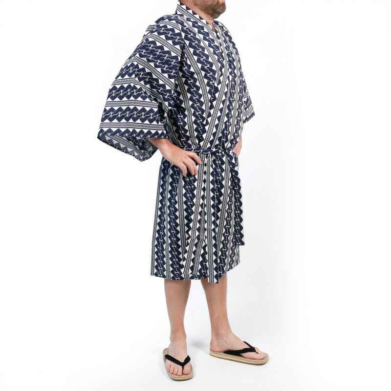 Japanese traditional blue cotton happi kimono with chain patterns for men