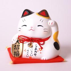 Chat blanc tire-lire japonais maneki neko - daishofuku 7384