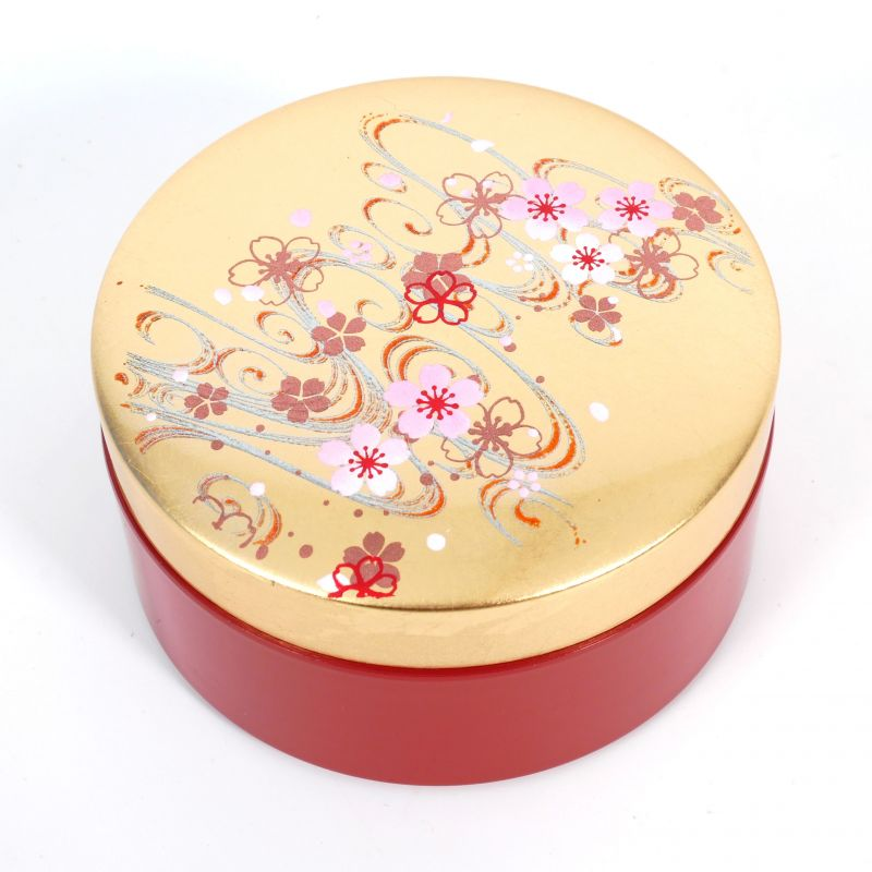 Red and gold Japanese jewelry box in resin with a cherry blossom river motif, SAKURAGAWA
