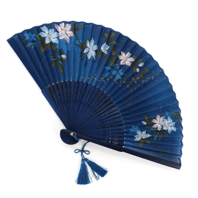 Japanese blue fan in polyester and bamboo with clematite pattern, TETSUSEN, 20.5cm