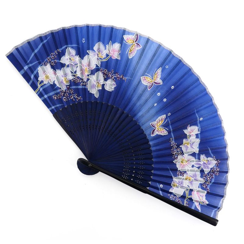 Japanese blue silk fan with butterfly and orchid pattern, RAN, 21cm