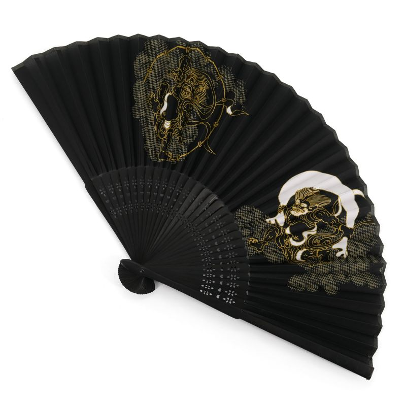 Japanese black fan in polyester and bamboo pattern god of wind and lightning, FUJIN RAIJIN, 22cm