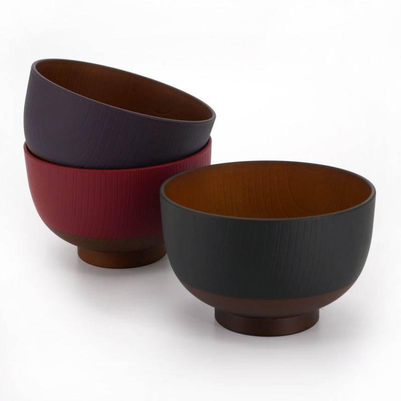 Japanese black red and purple bowl trio in imitation wood resin, KYOGATA, 10.7cm