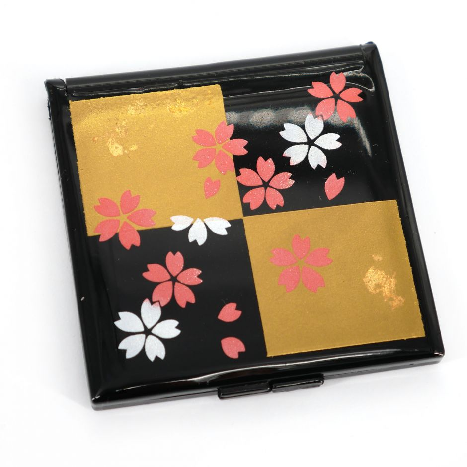 Japanese square black pocket mirror in resin with black and gold checkered pattern and cherry blossoms, SAKURA, 7cm