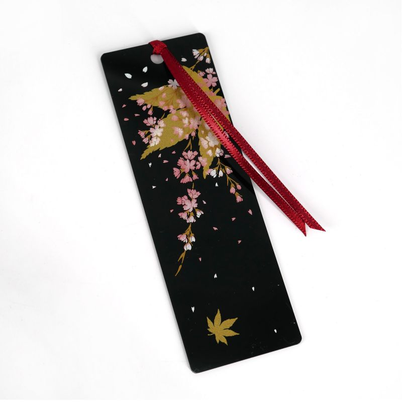 Japanese black resin bookmark with cherry blossom and maple leaves pattern, YOSHINO, 12cm