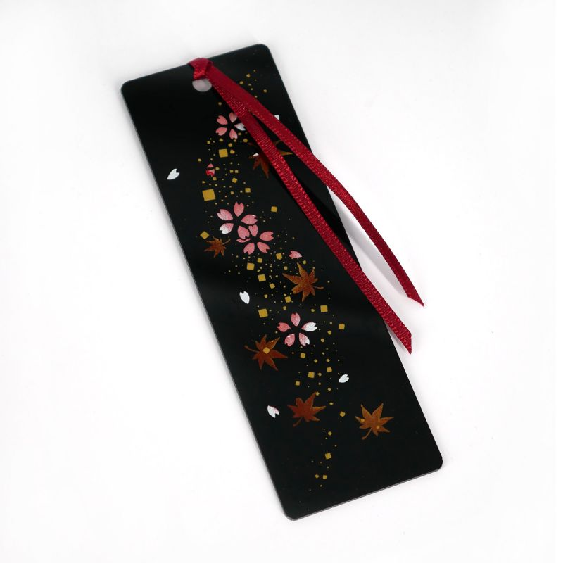 Japanese black resin bookmark with cherry blossom and maple leaves pattern, SHUNJU, 12cm