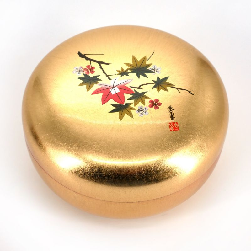 Japanese golden round resin storage box with cherry blossom and maple leaves pattern, HANAICHIMONME, 12cm