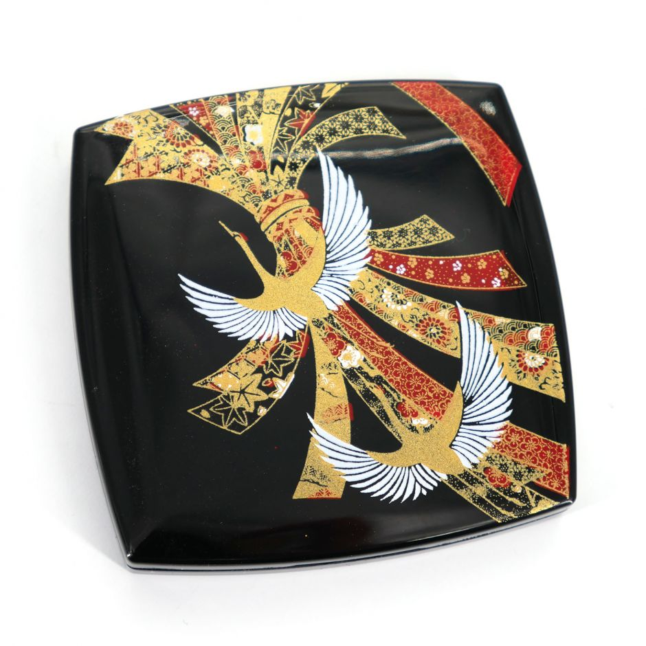 Japanese black square pocket mirror in resin with crane motif and bow of ribbons, NOSHITSURU, 7cm