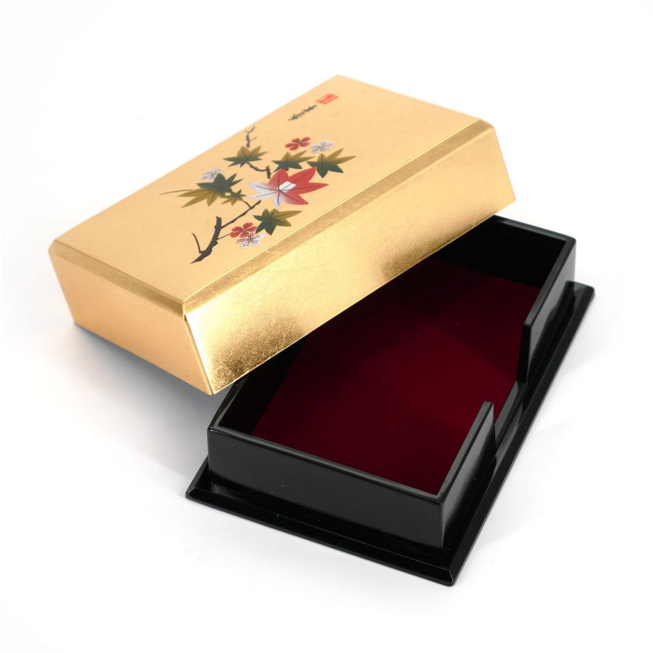 Japanese golden resin storage box with cherry blossom and maple leaves pattern, HANAICHIMONME, 11.5x7.5x3.6cm