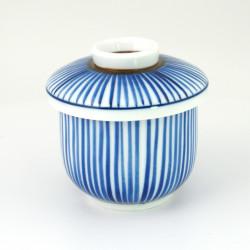 tasse bleu blanc à thé avec couvercle en céramique 1062573