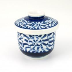 tasse bleu blanc à thé avec couvercle en céramique 1113234