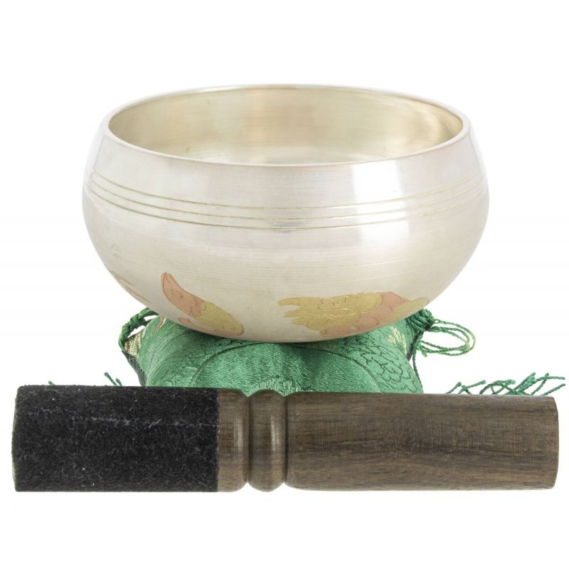 Tibetan infinity knot bowl and its handcrafted storage pouch, 7.5 cm