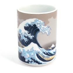 Japanese tea cup ceramic wave hokusai 52715