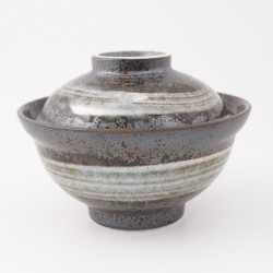 Ciotola in ceramica giapponese con coperchio, BURASHI, grigio